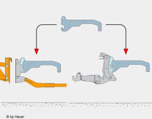Kombinácia predný záves - spojovacia doska